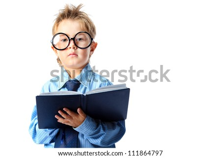 Little boy in spectacles and suit standing with a diary. Isolated over white background. - stock photo