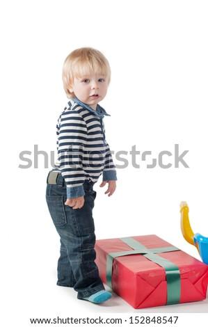 Little boy in studio - stock photo