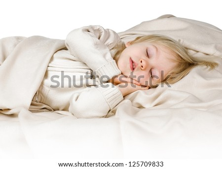 little boy in the bed on white background - stock photo