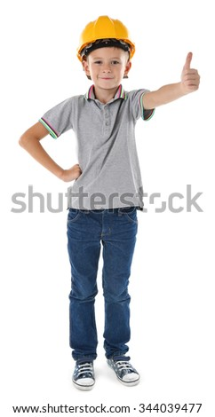 Little boy in yellow helmet isolated on white background - stock photo