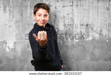 little boy inviting to go - stock photo