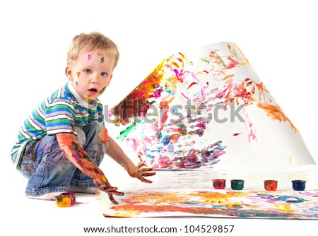 little boy is drawing picture isolated on white - stock photo