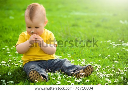 Little boy is sitting on green meadow and smell daisy - stock photo