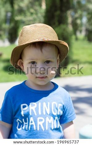 Little boy is walking in the summer park - stock photo