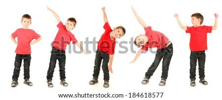 Little boy isolated on white - stock photo