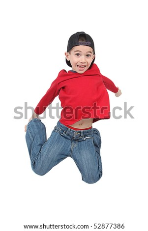 Little boy jumping on isolated white background - stock photo