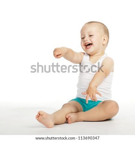 little boy laughs - stock photo