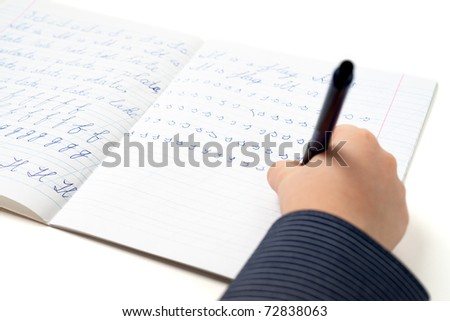 Little boy learning writing English - stock photo