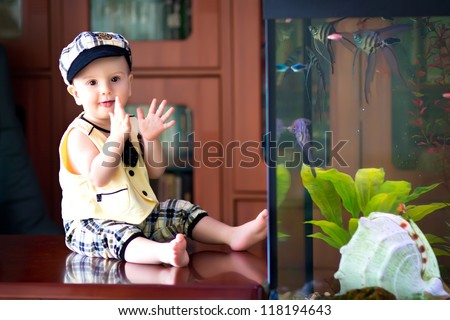 little boy looks in the aquarium - stock photo