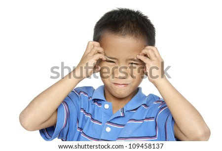 Little boy making a funny face-closeup - stock photo