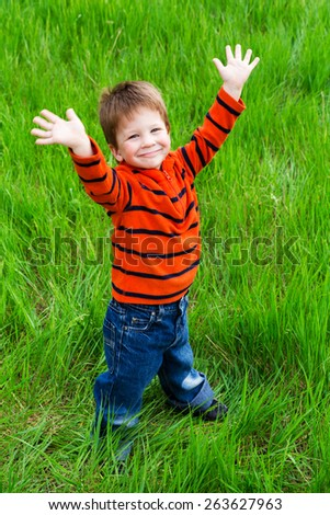 Little boy on green grass meadow with raised hands - stock photo
