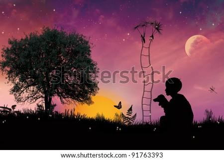 little boy on meadow with a jack ladder and a dandelion,tale illustration - stock photo