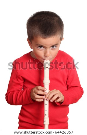 Little boy playing the flute  isolated on white background - stock photo