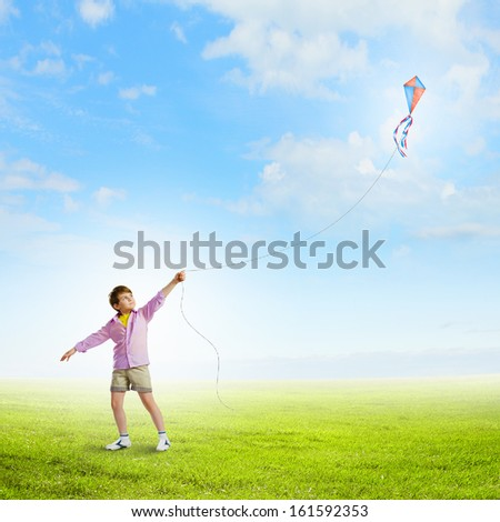 Little boy playing with kite on meadow. Childhood concept - stock photo