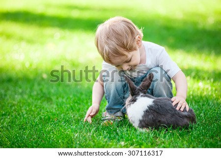 Little boy playing with rabbit. Rabbit in focus. - stock photo