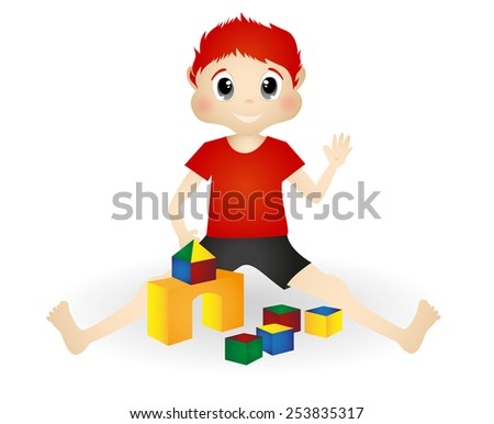 little boy playing wooden toy blocks - stock photo