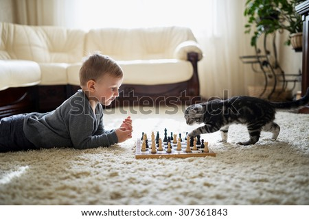 little boy plays with cat chess lying on the floor - stock photo