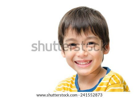 Little boy portrait close up face on white background - stock photo