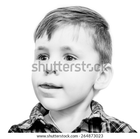 little boy portrait with tonque in open mouth - stock photo
