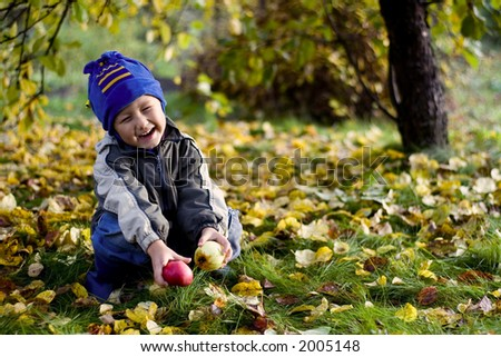 little boy posing outdoors with apples by autumn - stock photo