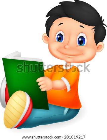 Little boy reading book - stock photo