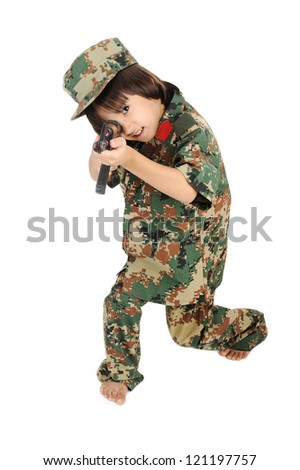 Little boy shooting from a gun isolated - stock photo