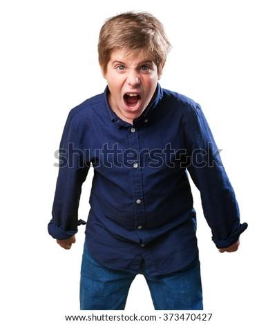 little boy shouting - stock photo