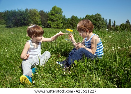 Little Boy Showing His Twin Brother A Butterfly In Glass Jar While Sitting In A Grass At Sunny Day - stock photo