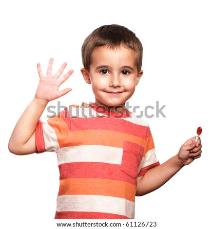 Little boy shows open palm, isolated on white - stock photo