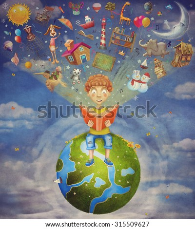 Little boy sitting on the planet and  reading  book, objects flying out - stock photo