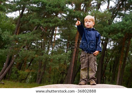little boy standing on a stone and pointing the finger - stock photo