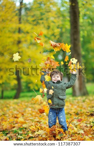 Little boy tossing leaves in autumn park - copyspace - stock photo