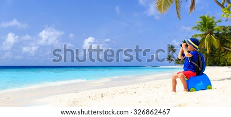 little boy travel on summer tropical beach, panorama - stock photo