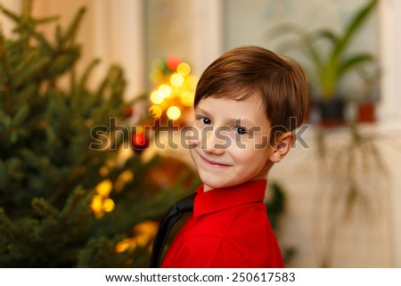 Little boy waiting for christmas at home - stock photo