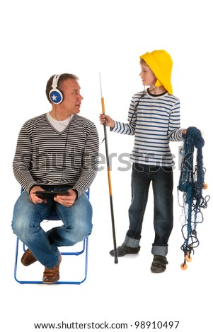 Little boy will go out for fishing with his father - stock photo