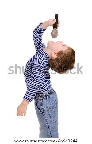 Little boy with a microphone sings isolated on white - stock photo