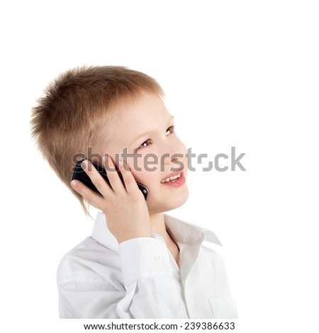 little boy with a mobile phone - stock photo