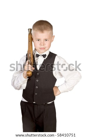 little boy with a musket - stock photo