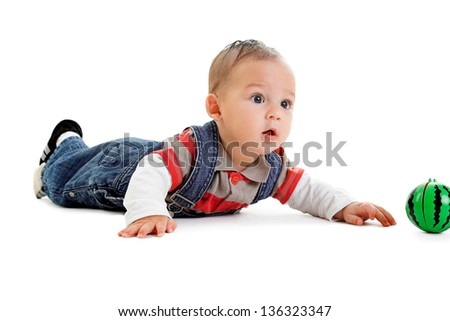 little boy with ball isolated on white - stock photo