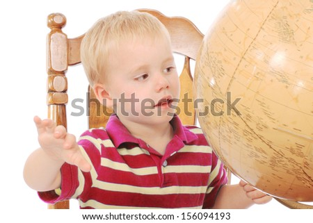 Little boy with books and notes - stock photo