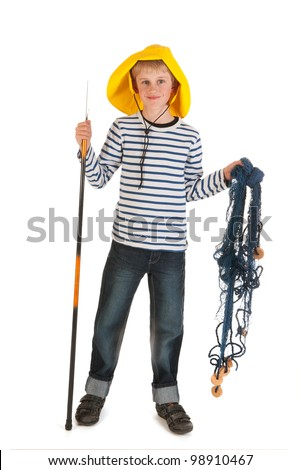 Little boy with fishing rod and net - stock photo
