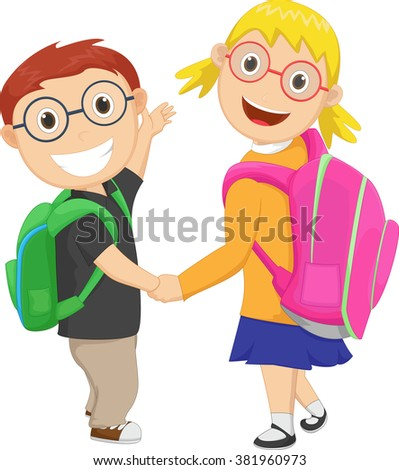 little boy with girl walking to school carrying a bag pack - stock photo