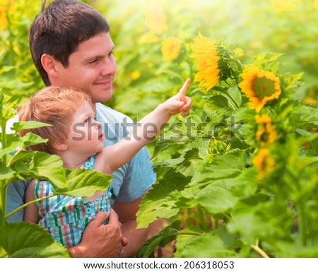little boy with his daddy  in the sunflowers field - stock photo