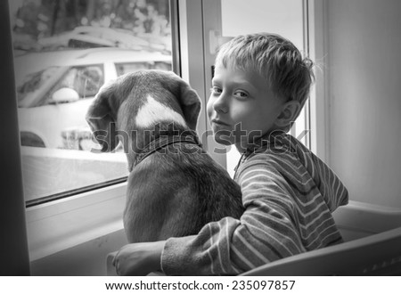 Little boy with his dog waiting together near the window - stock photo