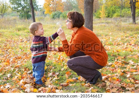Little boy with his mother blowing up the soap bubbles in the autumn park - stock photo