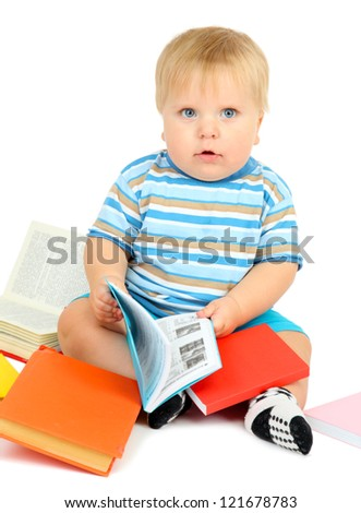 Little boy with multicolor books, isolated on white - stock photo