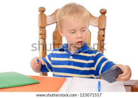 Little boy with notebook - stock photo