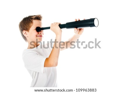 little boy with telescope isolated on a white background - stock photo