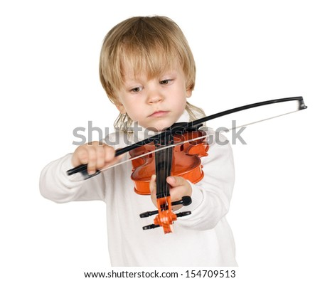 little boy with violin on white background - stock photo