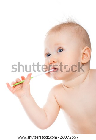 little boy with wand thinking - stock photo